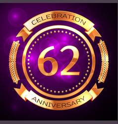 Sixty two years anniversary celebration with vector