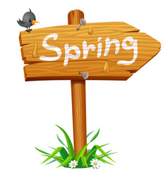 spring wooden arrow board vector image