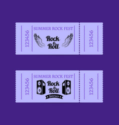 Summer rock fest collection tickets with text vector