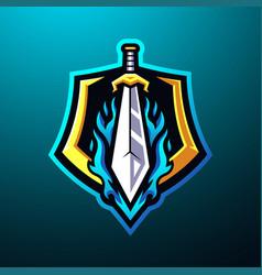 Sword mascot logo desain vector