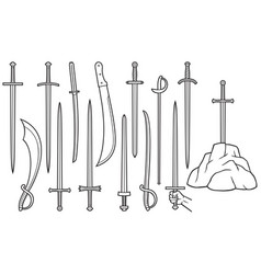 Swords thin line icons set vector