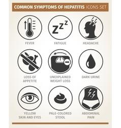 Symptoms hepatitis icon set vector