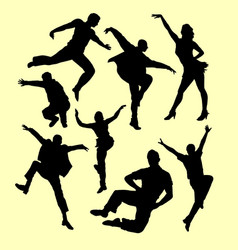 Tap dance man and women silhouette vector