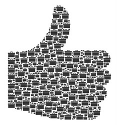 Thumb finger up mosaic of toolbox icons vector