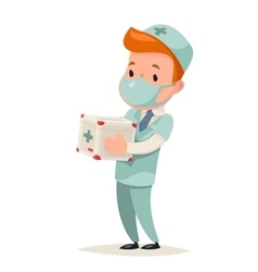 Transplant Surgeon Hold Portable Organ vector image