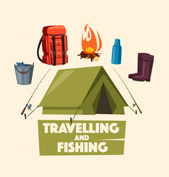 Traveling fishing and camping poster design vector