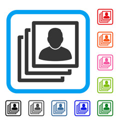 User accounts framed icon vector