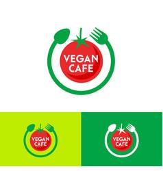 Vegan ripe tomato cafe logo fork spoon like circle vector