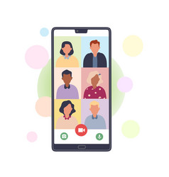 Video call on smartphone vector