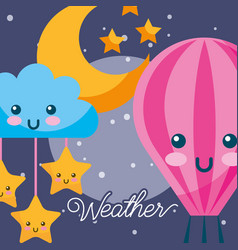 Weather night kawaii hot air balloon cloud stars vector