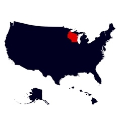 wisconsin state in united states map vector image