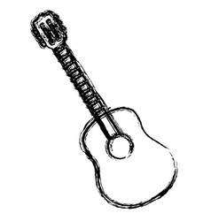 blurred sketch contour acoustic guitar icon vector image vector image