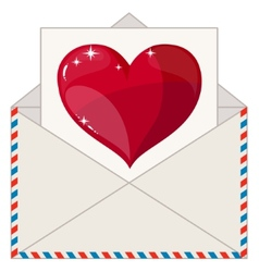 Envelope with a Letter in the Form of Valentines vector image vector image