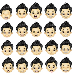 Little boy various face expressions vector image vector image