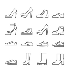 shoes icons line style flat design vector image vector image