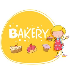 Bakery theme with baker and cake vector image vector image