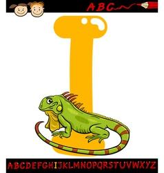 letter i for iguana cartoon vector image vector image