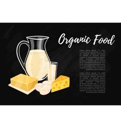 Organic food banner with dairy composition vector image