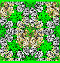 oriental ornament pattern on green background vector image