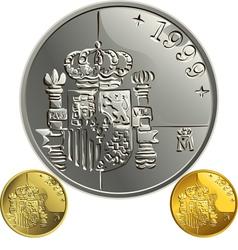 Spanish money peseta vector image