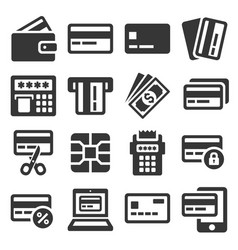 credit card icons set on white background vector image vector image