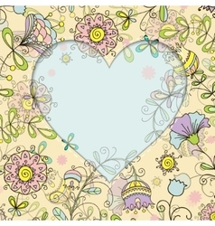 frame with floral pattern and heart doodle style vector image vector image