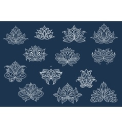 Isolated paisley flowers set in outline style vector image vector image