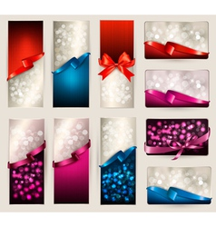 Set of beautiful Gift cards and banners with color vector image vector image