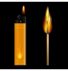 Burning lighter and match on black background vector image vector image