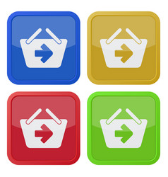 Four square color icons shopping basket next vector