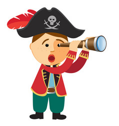 pirate boy looking through a spyglass telescope vector image