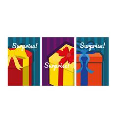 set of suprise cards vector image