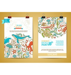 set of two marine life poster templates vector image