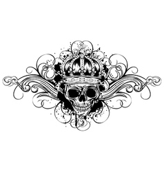 skull in crown with patterns vector image vector image