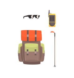 tourist hiking backpack sunglasses radio and ski vector image vector image