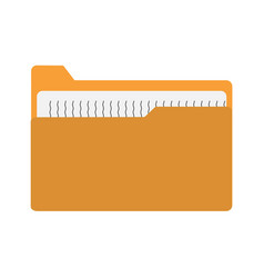 yellow file folder icon on white background vector image vector image