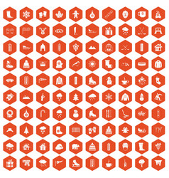 100 winter icons hexagon orange vector