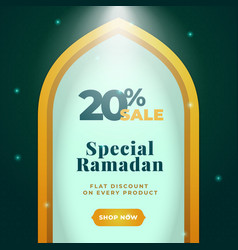 20 sale special ramadan banner poster background vector