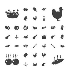 37 chicken icons vector