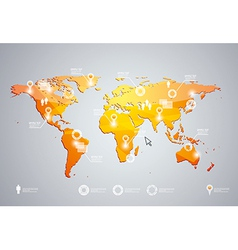 3d world map and infographics design templat vector image