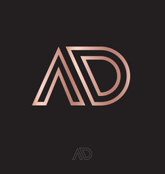 a and d monogram logo linear gold letters vector image