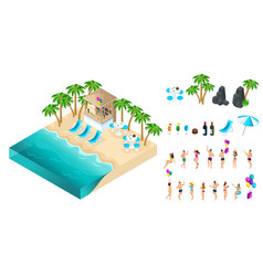 a set of isometric icons with dancing people vector image