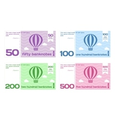 Abstract cute color banknote templates set vector