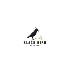 Black bird raven silhouette on tree logo design vector