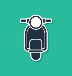 Blue scooter icon isolated on green background vector