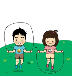 Boy and girl exercise vector