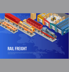 Bright poster for railway freight delivery vector