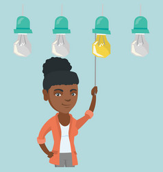 business woman switching on hanging idea bulb vector image