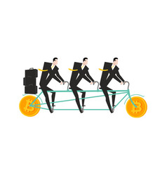businessman at bitcoin bicycle tandem mining pool vector image