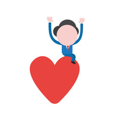 businessman character sitting on heart vector image